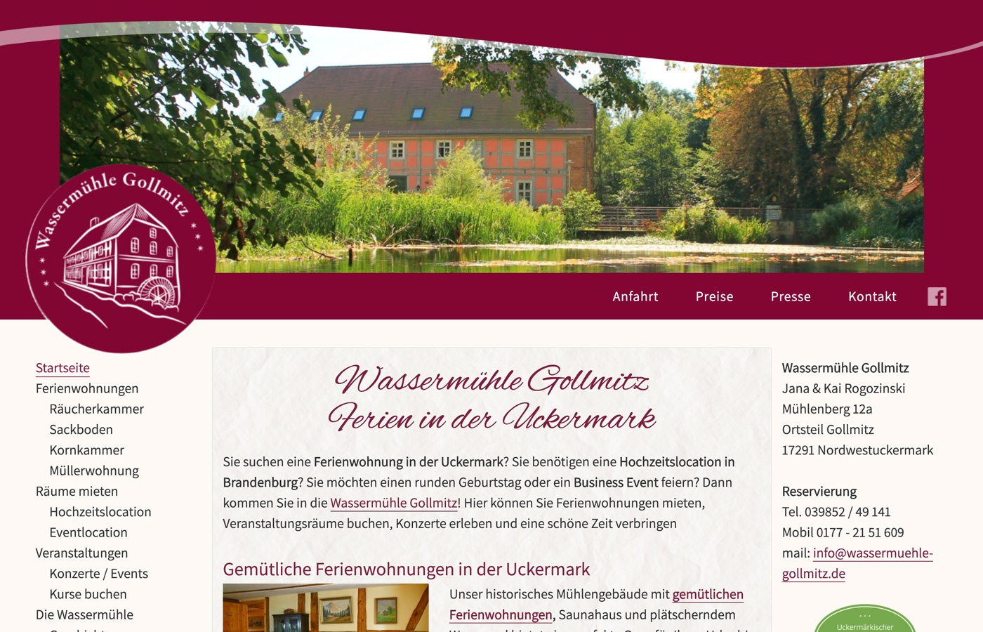 Eine neue Webseite erstellen für die Wassermühle Gollmitz