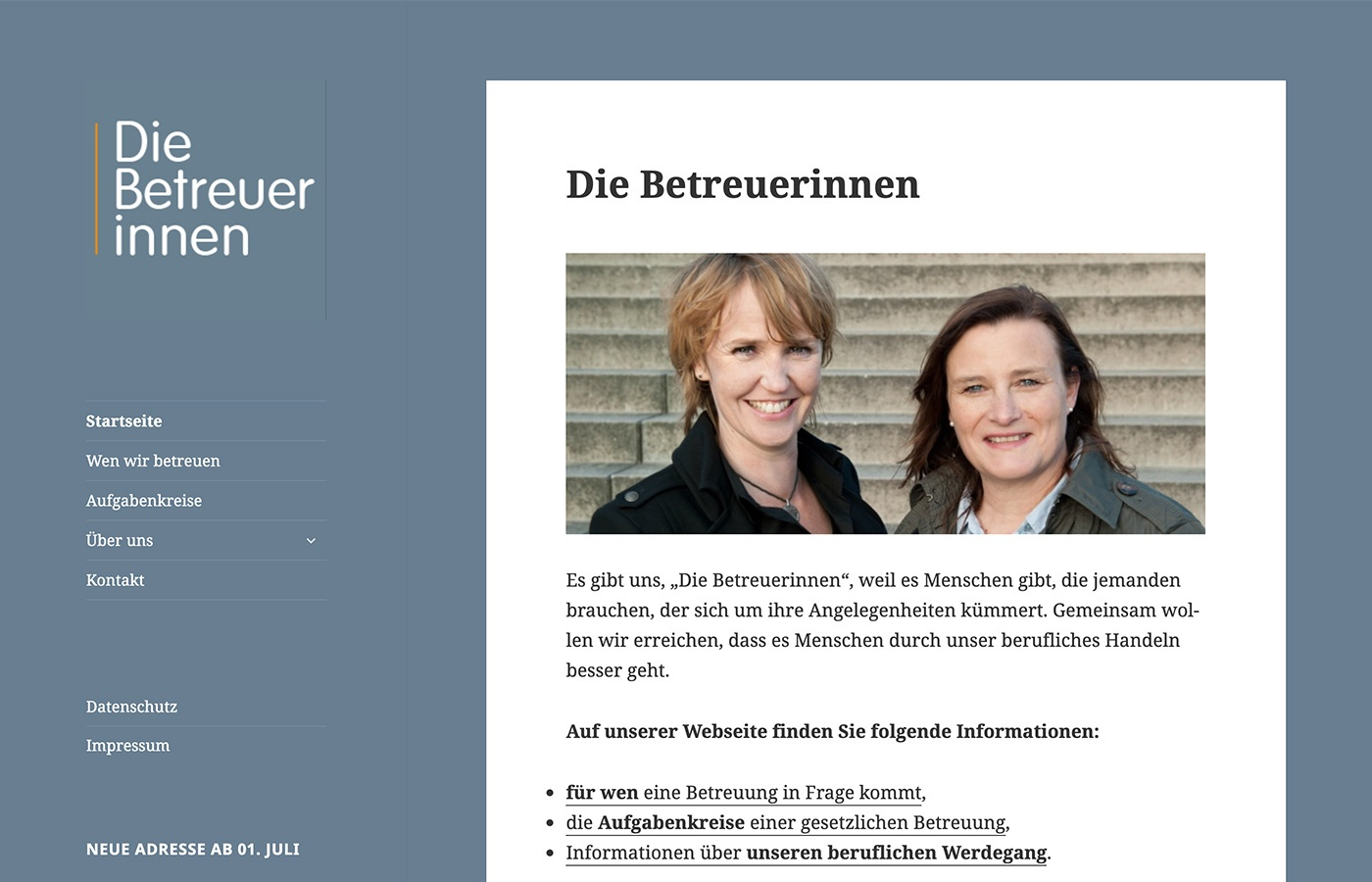 """Website für """"Die Betreuerinnen"""" mit WordPress-Themes Twenty Fifteen"""